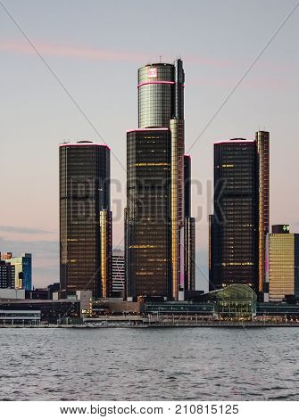 Detroit MI USA - 2nd October 2016: The Renaissance Center (also known as the GM Renaissance Center and nicknamed the RenCen) is a group of seven interconnected skyscrapers in Downtown Detroit Michigan