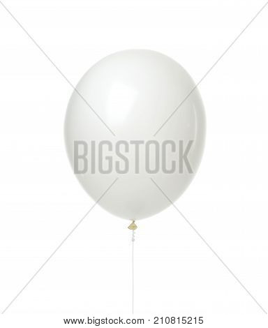 Single huge white balloon object for birthday party isolated on a white background