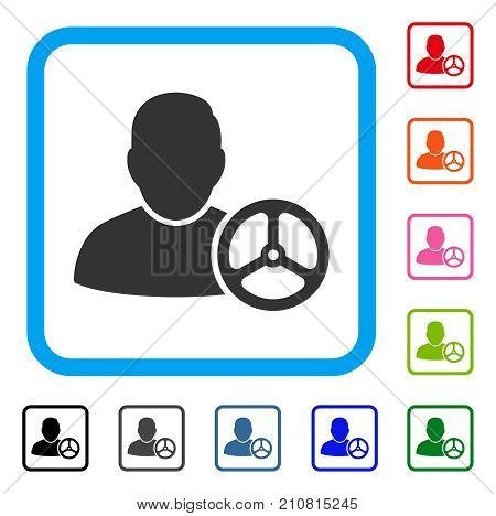 Driver Wheel icon. Flat grey pictogram symbol inside a light blue rounded rectangular frame. Black, gray, green, blue, red, orange color versions of Driver Wheel vector.