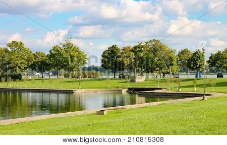 Belle Isle Park is a 982-acre island park in the Detroit River between the United States mainland and Canada.