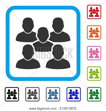 Friends Crowd icon. Flat gray pictogram symbol inside a light blue rounded frame. Black, gray, green, blue, red, orange color versions of Friends Crowd vector. Designed for web and app user interface.