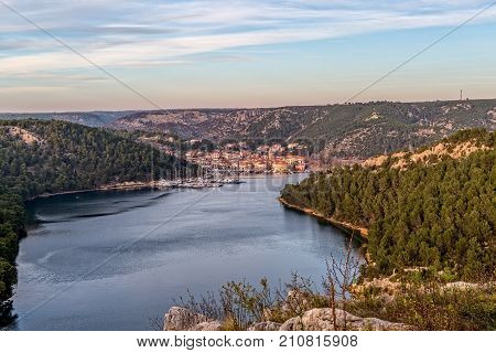 Skradin is a small historic town and harbour built on the estuary where the river Krka flows into the Adriatic sea in Croatia.