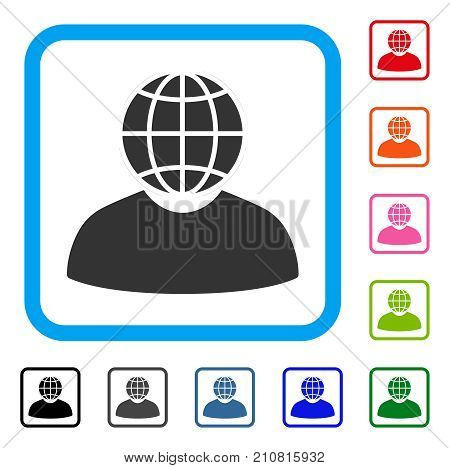 Global Politician icon. Flat gray pictogram symbol inside a light blue rounded frame. Black, gray, green, blue, red, orange color versions of Global Politician vector.