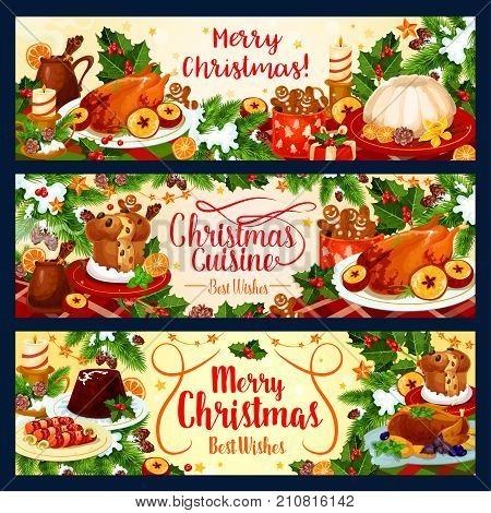 Merry Christmas dinner or winter holiday dish table banners with seasonal wish and greetings. Vector candy, pie or wine and cookie pie for New Year in Christmas tree decoration and holly wreath