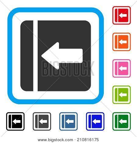 Hide Menu Left icon. Flat gray pictogram symbol inside a light blue rounded square. Black, gray, green, blue, red, orange color variants of Hide Menu Left vector. poster