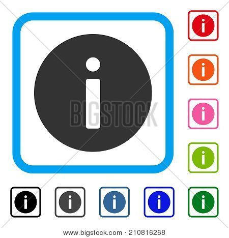 Info icon. Flat gray iconic symbol inside a light blue rounded rectangle. Black, gray, green, blue, red, orange color additional versions of Info vector. Designed for web and app user interface.