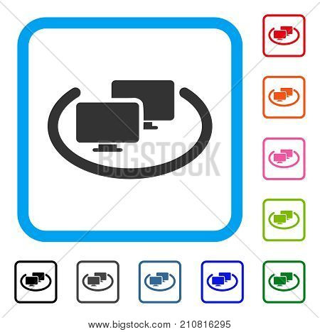Intranet Computers icon. Flat grey iconic symbol in a light blue rounded frame. Black, gray, green, blue, red, orange color versions of Intranet Computers vector. Designed for web and application UI.
