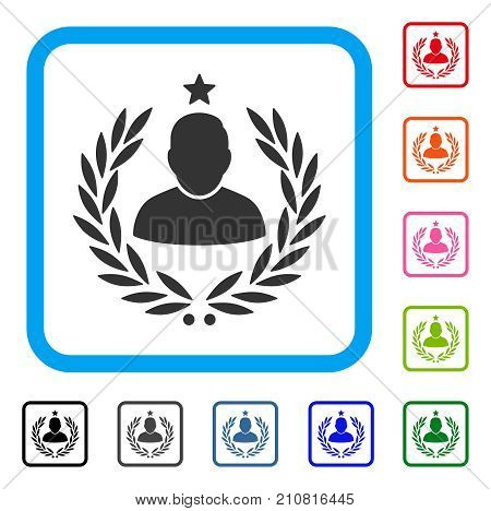 Man Glory Laurel Emblem icon. Flat gray iconic symbol in a light blue rounded frame. Black, gray, green, blue, red, orange color variants of Man Glory Laurel Emblem vector.
