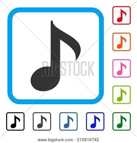 Musical Note icon. Flat grey iconic symbol inside a light blue rounded rectangular frame. Black, gray, green, blue, red, orange color variants of Musical Note vector.