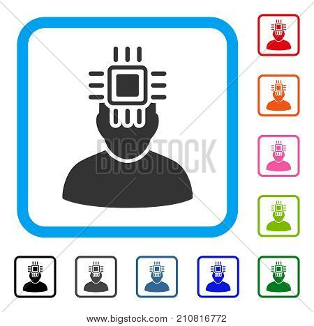 Neuro Interface icon. Flat grey iconic symbol inside a light blue rounded rectangle. Black, gray, green, blue, red, orange color variants of Neuro Interface vector.