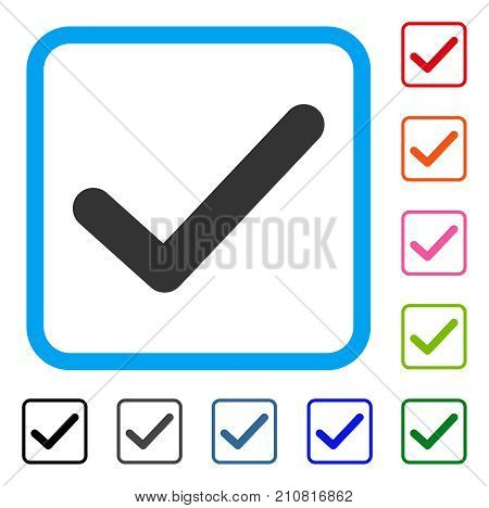 Ok Tick icon. Flat gray pictogram symbol in a light blue rounded rectangle. Black, gray, green, blue, red, orange color additional versions of Ok Tick vector. Designed for web and software interfaces.