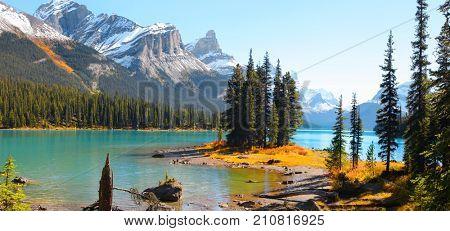 Famous Spirit Island in Maligne lake near Jasper city in Canada