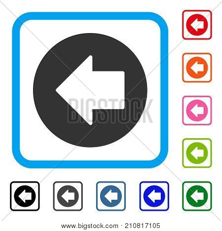 Previous Arrow icon. Flat gray iconic symbol in a light blue rounded square. Black, gray, green, blue, red, orange color versions of Previous Arrow vector. Designed for web and software interfaces.