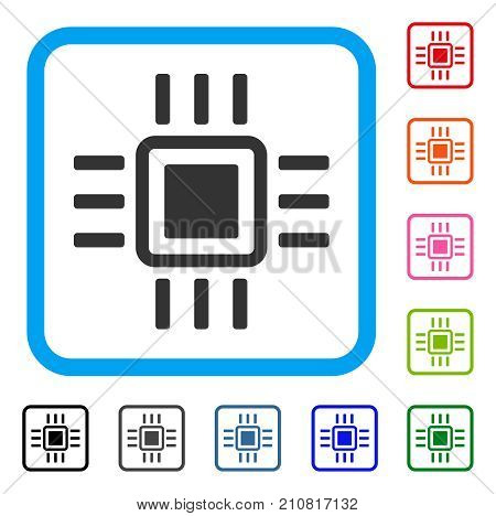 Processor icon. Flat gray iconic symbol inside a light blue rounded square. Black, gray, green, blue, red, orange color variants of Processor vector. Designed for web and application interfaces.