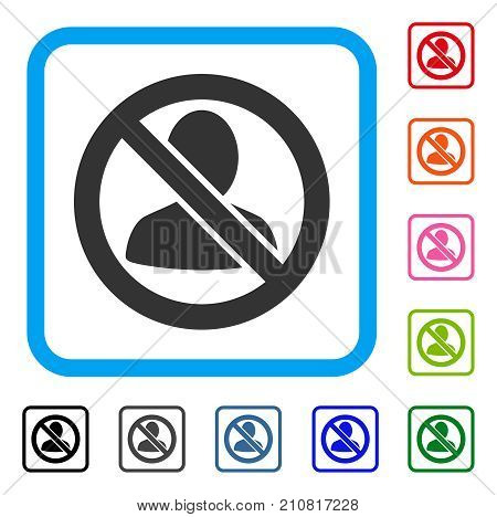 Restricted User icon. Flat grey pictogram symbol in a light blue rounded square. Black, gray, green, blue, red, orange color additional versions of Restricted User vector.
