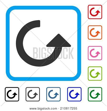 Rotate icon. Flat grey iconic symbol in a light blue rounded squared frame. Black, gray, green, blue, red, orange color additional versions of Rotate vector. Designed for web and software interfaces.