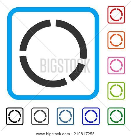 Round Diagram icon. Flat grey pictogram symbol inside a light blue rounded rectangle. Black, gray, green, blue, red, orange color versions of Round Diagram vector. Designed for web and software UI.
