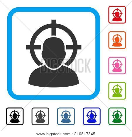 Shoot Person icon. Flat grey pictogram symbol in a light blue rounded square. Black, gray, green, blue, red, orange color additional versions of Shoot Person vector. Designed for web and app UI.