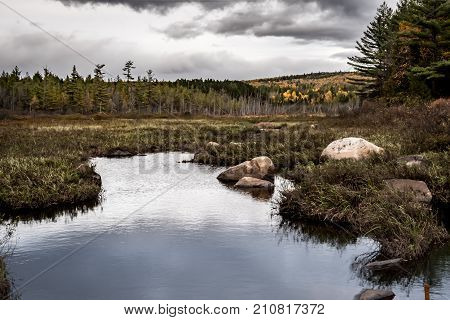 Dark Clouds Over Marsh In Northern Maine