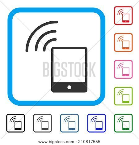 Smartphone Wi-Fi Signal icon. Flat grey iconic symbol inside a light blue rounded frame. Black, gray, green, blue, red, orange color variants of Smartphone Wi-Fi Signal vector.