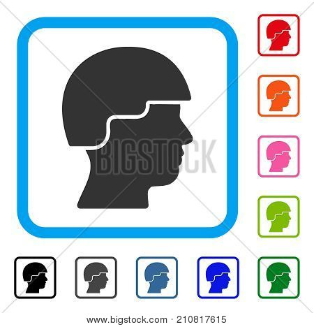 Soldier icon. Flat gray iconic symbol in a light blue rounded squared frame. Black, gray, green, blue, red, orange color additional versions of Soldier vector.
