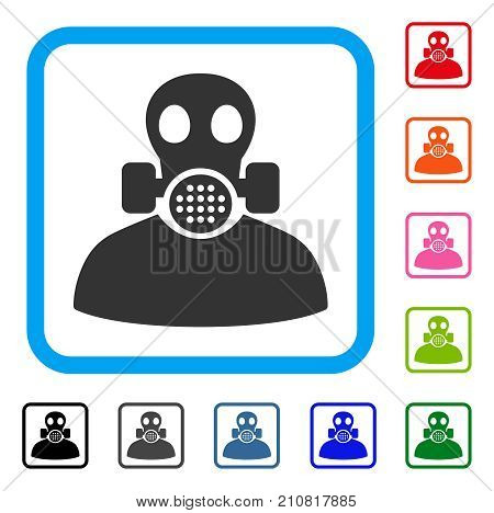Toxic Work icon. Flat gray pictogram symbol inside a light blue rounded square. Black, gray, green, blue, red, orange color additional versions of Toxic Work vector.