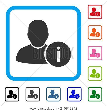User Info icon. Flat grey iconic symbol inside a light blue rounded square. Black, gray, green, blue, red, orange color additional versions of User Info vector. Designed for web and app interfaces.