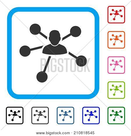 User Relations icon. Flat gray iconic symbol inside a light blue rounded squared frame. Black, gray, green, blue, red, orange color variants of User Relations vector.