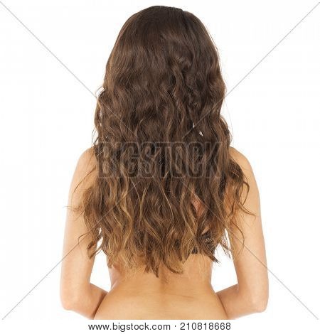 Female Long wavy brunette hair, rear view, isolated on white background