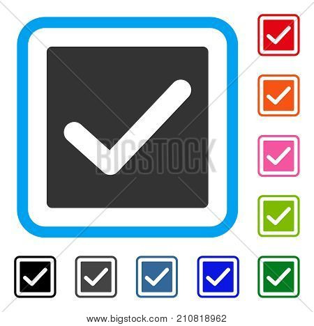 Valid Tick icon. Flat grey pictogram symbol inside a light blue rounded frame. Black, gray, green, blue, red, orange color versions of Valid Tick vector. Designed for web and software user interface.