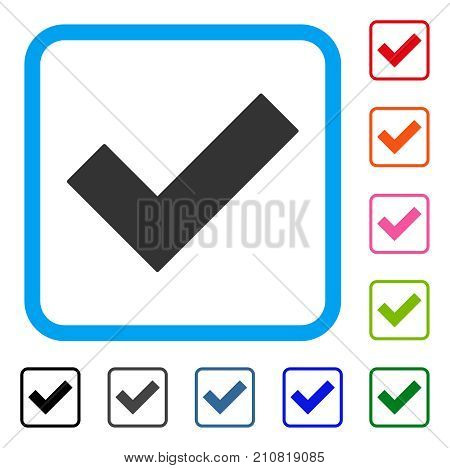 Yes Tick icon. Flat grey iconic symbol in a light blue rounded square. Black, gray, green, blue, red, orange color additional versions of Yes Tick vector. Designed for web and app UI.