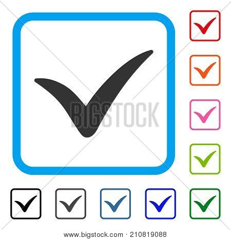 Yes icon. Flat grey pictogram symbol in a light blue rounded rectangle. Black, gray, green, blue, red, orange color additional versions of Yes vector. Designed for web and software interfaces.