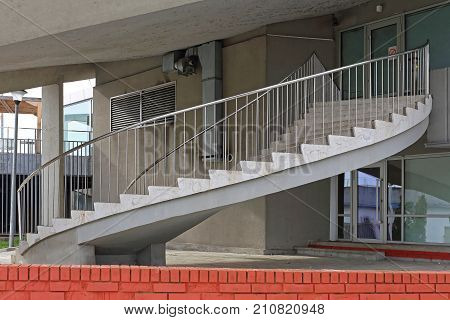 Concrete Helical Staircase Stairs at Building Exterior
