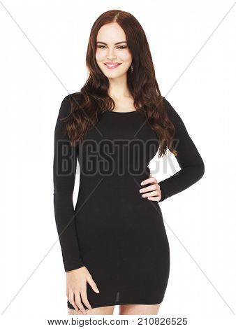Beautiful brunette woman in black dress, studio isolated on white background