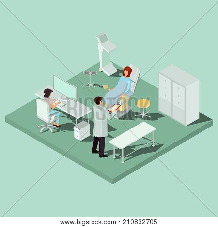 Vector isometric gynecology room with gynecological chair, couch, diagnostic equipment, computer, medical personnel and patient. Concept of early infertility diagnosis, taking care of womens health, pregnancy planning
