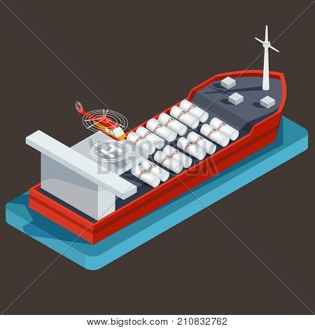 Vector isometric red barge with barrel for transportation of oil, petroleum or water in the water. Concept of commercial transportation of liquid cargo, freight transport