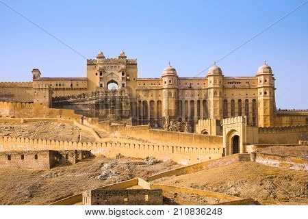 The Amber palace or fort a famous tourist destination in the town of Amber or Amer near Jaipur in the Rajasthan state of India