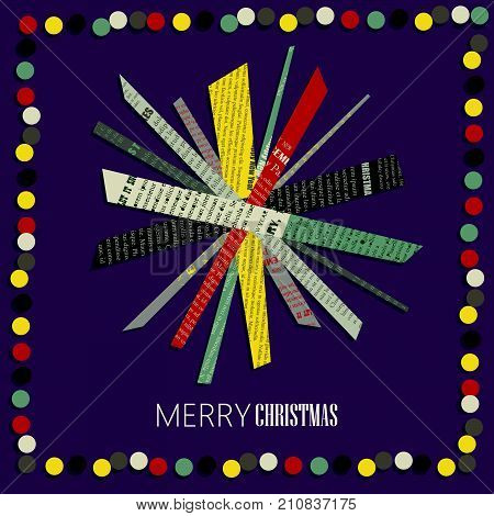 Vector square New Year greeting Card. Snowflake cut out of colored newsprint paper on a dark background with frame of confetti.