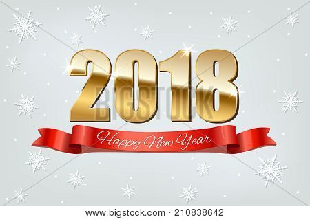 Happy New Year text on red ribbon and 2018 golden sign on light blue snowing background. Vector New Year illustration