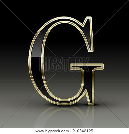 3D Metallic Black Letter G