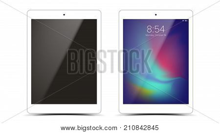 Tablet Mockup Design Vector. White Modern Trendy Touch Screen Tablet Front View. Isolated On White Background. Realistic 3D