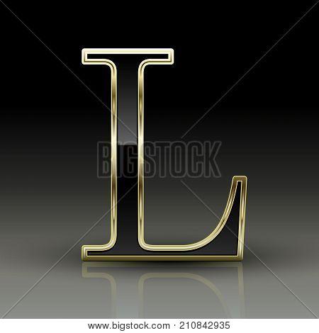 3D Metallic Black Letter L