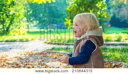 Portrait Of Happy Blond Baby Girl On Natural Background Of Autumn Park