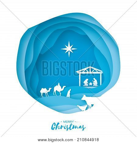 Birth of Christ. Baby Jesus in the manger. Holy Family. Magi. Three wise kings and star of Bethlehem - east comet. Nativity Christmas graphics design in paper cut style. Vector illustration.