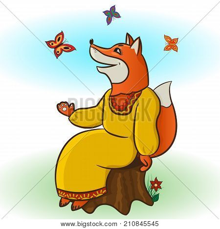 The fox is red-haired, tricky playing with butterflies. He sits on a stump, looks up at the sky. Character from the Russian, folk, children s fairy tale. The cartoon. Vector illustration