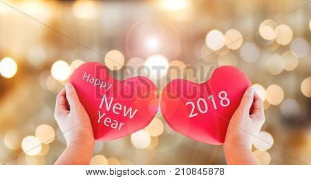 Couple Red Heart With Text Happy New Year 2018 On Gold Bokeh Background