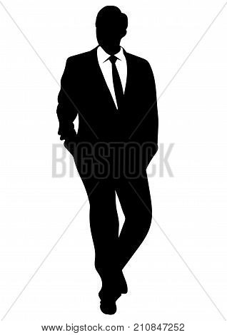 Silhouette of a business man in a suit walking with his hands in his pockets