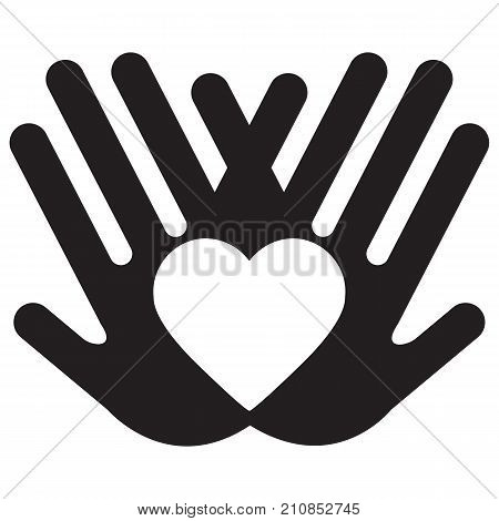 Heart in hands Charity and Relief Work Icon Logo