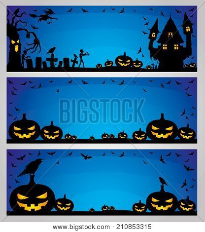 Halloween blue banners for your text and decorations.