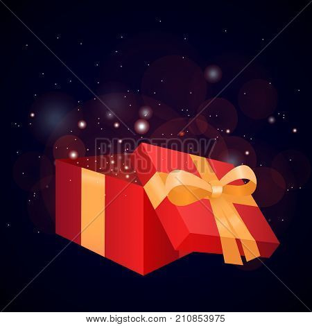 gift open gift box box present ribbon gift box vector gift card gift box isolated holiday festive sparkle decoration glitter celebration design surprise confetti bright red glow color vector open magic star light xmas sparks happy christmas banner season